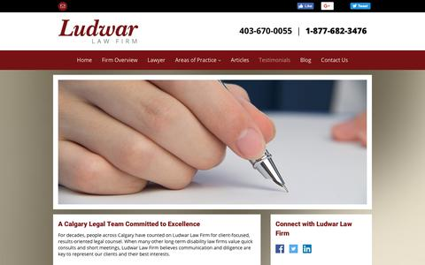 Screenshot of Testimonials Page yourdisabilitylawyer.ca - Disability Law Calgary   Testimonials   Ludwar Law Firm - captured Sept. 30, 2018