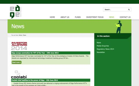 Screenshot of Press Page edge.uk.com - Edge Investment Management News | Edge Investments Newsletter - captured Oct. 2, 2014