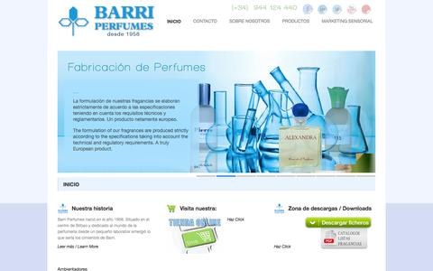 Screenshot of Home Page barriperfumes.es - BARRI PERFUMES. Ambientadores Barri Perfumes. Fabrica de ambientadores y perfumes - captured Sept. 30, 2014
