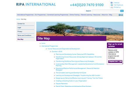 Screenshot of Site Map Page ripainternational.co.uk - Sitemap - RIPA International - captured Oct. 7, 2014