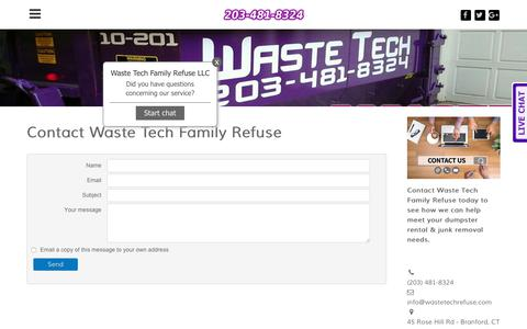 Screenshot of Contact Page wastetechrefuse.com - Contact Waste Tech Family Refuse - Waste Tech - captured Jan. 8, 2020