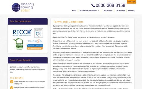 Screenshot of Terms Page energysavingsolar.co.uk - Terms and Conditions - Commercial Solar PV Panels & Installation|EnergySavingSolar - captured Oct. 28, 2014