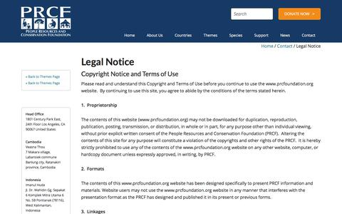 Screenshot of Terms Page prcfoundation.org - Legal Notice - People Resources and Conservation Foundation - captured July 22, 2017
