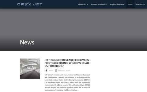 Screenshot of Press Page oryxjet.com - News | Oryx Jet - captured Feb. 28, 2016