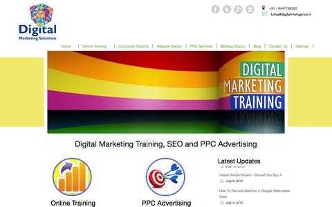 Screenshot of Home Page digitalintelligence.in - Digital Intelligence | Online Digital Marketing Training | SEO | Social Media Marketing | Email Marketing | PPC Advertising - captured Oct. 5, 2014