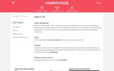 Screenshot of About Page mommypage.com - About Us : Mommypage - captured Jan. 15, 2016