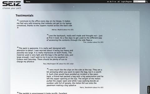 Screenshot of Testimonials Page seizpacks.com - Testimonials | SEIZ - captured Oct. 3, 2014