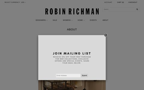 Screenshot of About Page robinrichman.com - ABOUT                         – robin richman - captured Feb. 9, 2018