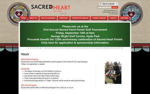 Screenshot of Hours Page sacredheart-boston.org - Sacred Heart School: Hours - captured Oct. 1, 2018