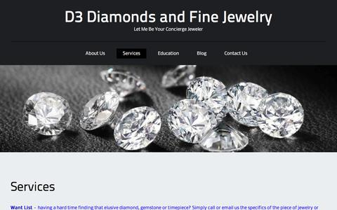 Screenshot of Services Page d3diamondsandjewelry.com - Services - D3 Diamonds and Fine Jewelry - captured Feb. 8, 2016