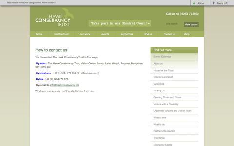 Screenshot of Contact Page hawk-conservancy.org - The Hawk Conservancy Trust - How to contact us - captured Nov. 1, 2016