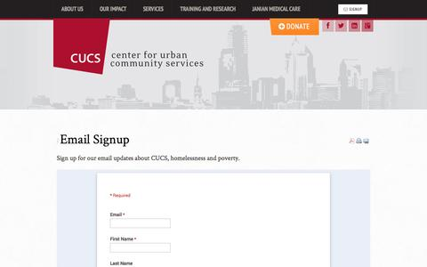 Screenshot of Signup Page cucs.org - Email Signup - Center for Urban Community Services - captured Oct. 2, 2014
