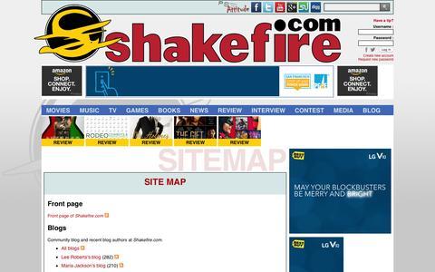 Screenshot of Site Map Page shakefire.com captured Dec. 5, 2015