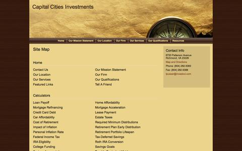 Screenshot of Site Map Page investcci.com - Site Map : Capital Cities Investments - captured Oct. 1, 2014