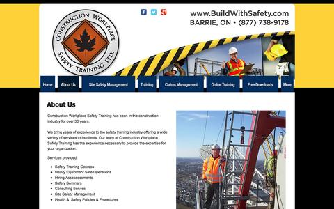 Screenshot of About Page buildwithsafety.com - Construction Workplace Safety Training Ltd | Construction Safety Train - captured Nov. 11, 2016