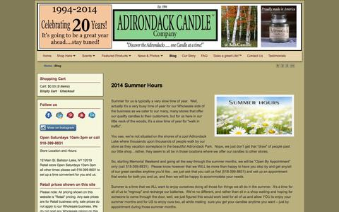 Screenshot of Blog adirondackcandle.com - Blog | Adirondack Candle Company | Your source for Quality hand made scented candles - captured Oct. 4, 2014