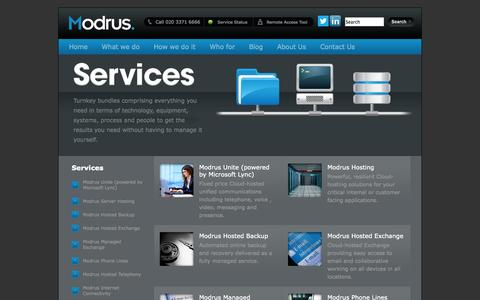 Screenshot of Services Page modrus.com - Fully managed IT services. IT support. IT outsourcing. Modrus. - captured Oct. 26, 2014