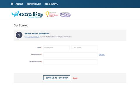 Screenshot of Signup Page extra-life.org - Extra Life | Play Games. Heal Kids. - captured Oct. 29, 2017