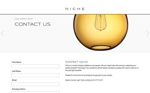Screenshot of Contact Page nichemodern.com - Contact Niche Modern for Modern Lighting - captured July 6, 2018
