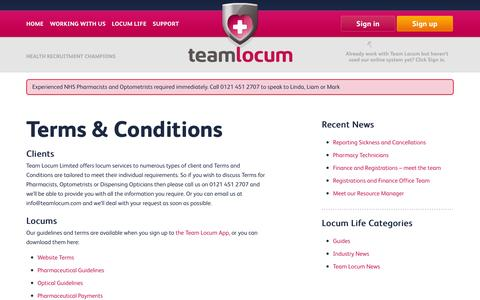 Screenshot of Terms Page teamlocum.co.uk - Terms & Conditions | Team Locum - captured Oct. 7, 2014