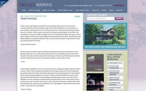 Screenshot of Testimonials Page nicolewatkins.com - Testimonials for Nicole Watkins Realtor - captured Oct. 1, 2014