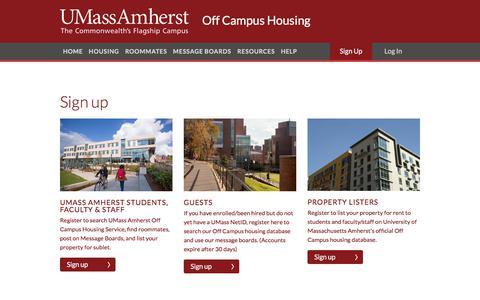Screenshot of Signup Page umass.edu - University of Massachusetts Amherst | Off Campus Housing Search | Registration - captured June 24, 2017