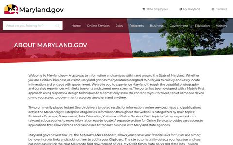 Screenshot of About Page maryland.gov - About Maryland.gov - Maryland.gov - captured Nov. 15, 2019