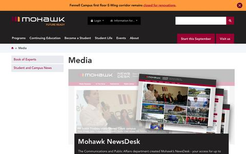 Screenshot of Press Page mohawkcollege.ca - Media | Mohawk College - captured July 15, 2017