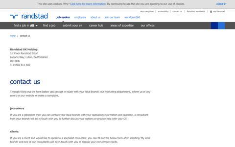Screenshot of Contact Page randstad.co.uk - contact us | Randstad.co.uk - captured May 8, 2016