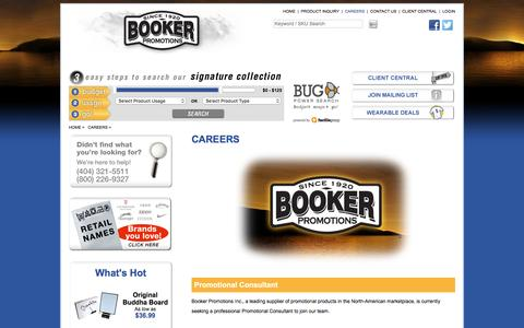 Screenshot of Jobs Page bookerpromo.com - Booker Promotions Inc. - Promotional products Atlanta - Corporate gifts Atlanta - Promotional Items Atlanta- Promotional Ideas-Corporate Awards-Corporate Gift Ideas-Products - captured Nov. 23, 2016