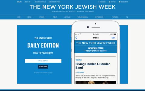 Screenshot of Signup Page timesofisrael.com - Sign up to the Jewish News Weekly | Jewish Week - captured Sept. 29, 2018