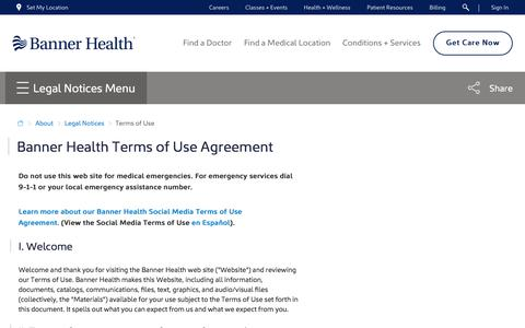 Screenshot of Terms Page bannerhealth.com - Terms of Use | Legal Notices - captured April 15, 2018