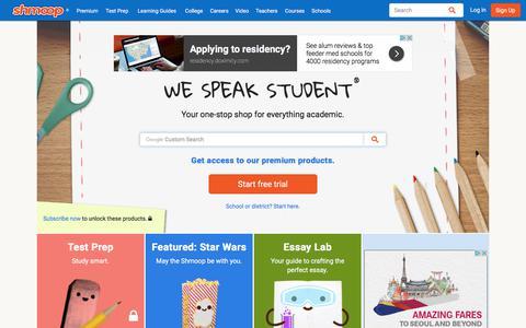 Screenshot of Home Page shmoop.com - Shmoop: Homework Help, Teacher Resources, Test Prep - captured Oct. 5, 2017