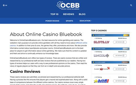 Screenshot of About Page onlinecasinobluebook.com - About OnlineCasinoBluebook.com | Established 2003 - captured Nov. 8, 2019