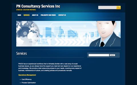 Screenshot of Services Page pncsi.com - Services | PN Consultancy Services Inc - captured Oct. 1, 2014