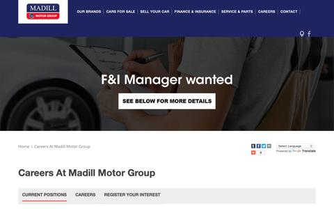 Screenshot of Jobs Page madill.com.au - Careers at Madill Motor Group  - Madill Motor Group - captured Oct. 1, 2018