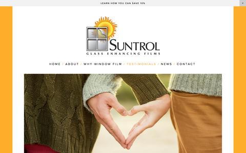 Screenshot of Testimonials Page suntrol.com - Suntrol Window Film  — Testimonials - Hear What Our Clients Area Saying - captured Dec. 11, 2016