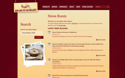 Screenshot of Press Page sabra.com - Dip Life to the Fullest | Hummus Dips from Sabra Dipping Co. - captured Sept. 19, 2014