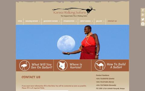 Screenshot of Contact Page karisia.com - Karisia Walking Safaris - Contact Us - captured Oct. 6, 2014