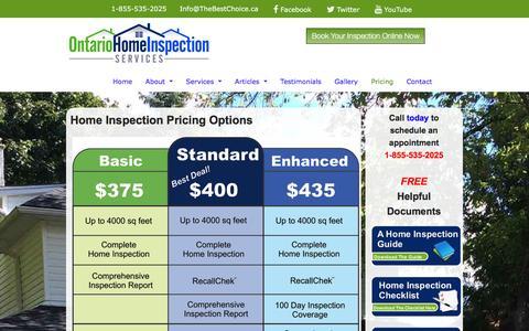 Screenshot of Pricing Page ontariohomeinspectionservice.ca - Pricing | Ontario Home Inspection Service - captured Dec. 3, 2016