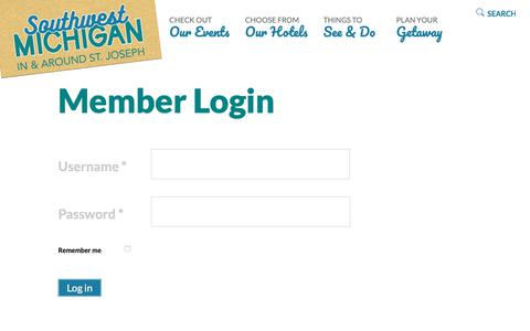 Screenshot of Login Page swmichigan.org - Southwest Michigan - Member Login - captured Nov. 21, 2018