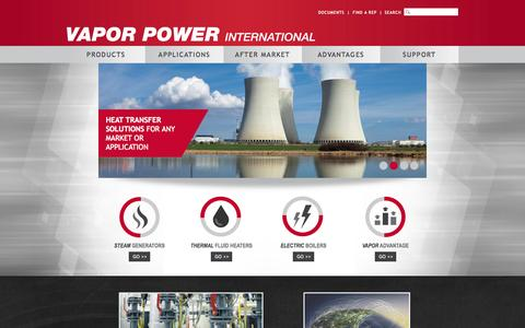 Screenshot of Home Page vaporpower.com - Vapor Power | Manufactures Boilers, Packaged Steam Generators, Thermal Fluid Heaters, and Electric Boilers - captured Aug. 14, 2015