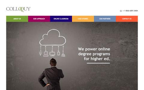 Screenshot of Home Page colloquy360.com - Leading Online Degree Programs for Higher Education   Colloquy360.com - captured Sept. 30, 2014