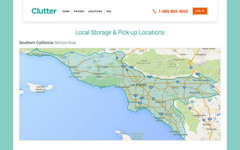 Screenshot of Locations Page clutter.com - Clutter Storage Locations Served | Los Angeles and Southern California - captured Nov. 23, 2015