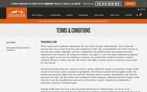 Screenshot of Terms Page traegergrills.com - Terms and Conditions - captured Dec. 2, 2019
