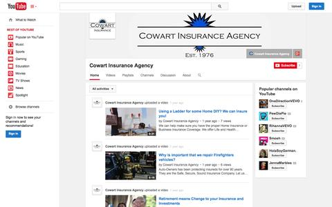 Screenshot of YouTube Page youtube.com - Cowart Insurance Agency  - YouTube - captured Oct. 22, 2014