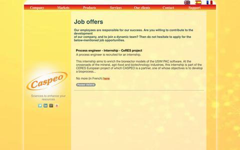 Screenshot of Jobs Page caspeo.net - Job offers - Caspeo - captured July 16, 2018