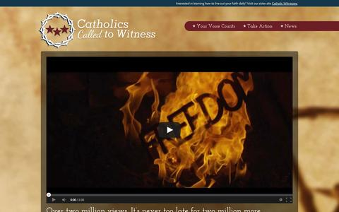 Screenshot of Home Page cc2w.org - Catholics Called to Witness - captured Oct. 2, 2014