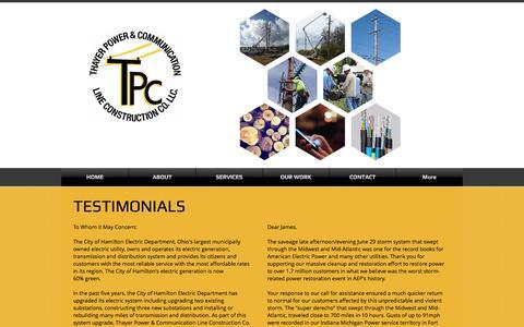 Screenshot of Testimonials Page thayerpc.com - thayerpc | TESTIMONIALS - captured Nov. 30, 2016