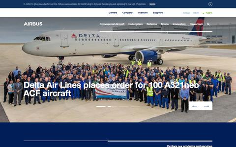 Screenshot of Home Page airbus.com - Airbus Home - captured Dec. 20, 2017